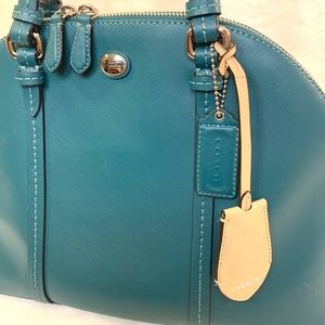 Coach Cora Peyton Domed Jade Leather Satchel